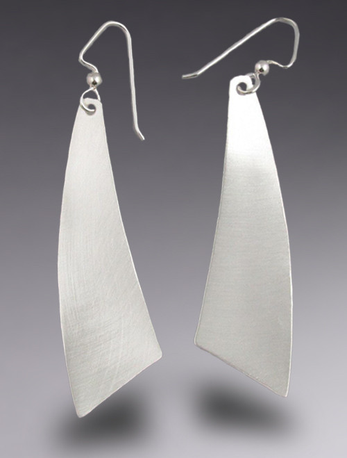 Sleek Triangle Sterling Silver Earrings with Brushed Finish