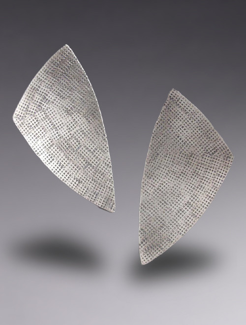 Large Sterling Silver MOD Triangle Post Earrings