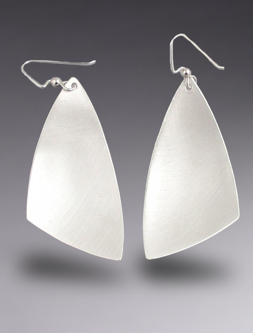Brushed Sterling Silver Large MOD Triangle Dangle Earring