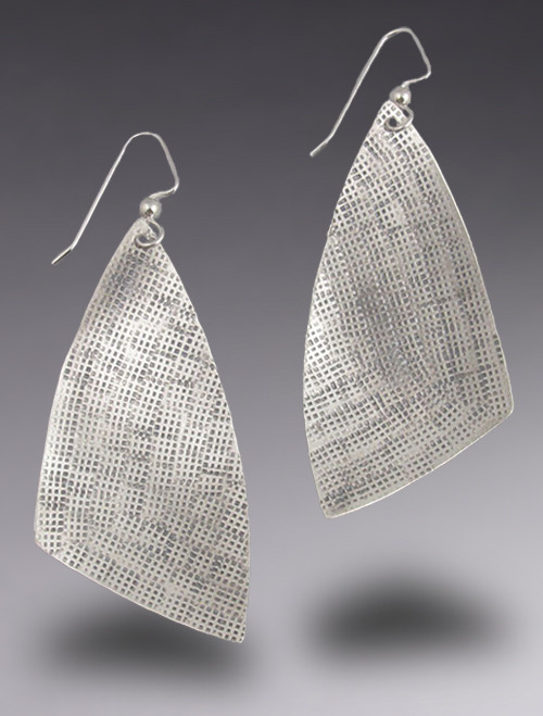 Stamped Sterling Silver Large MOD Triangle Dangle Earring