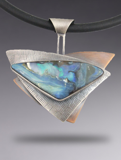 One of a Kind Triangles Boulder Opal Necklace