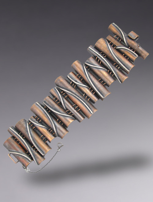 "Bronze and Sterling Silver ""Flames""  Link Bracelet"