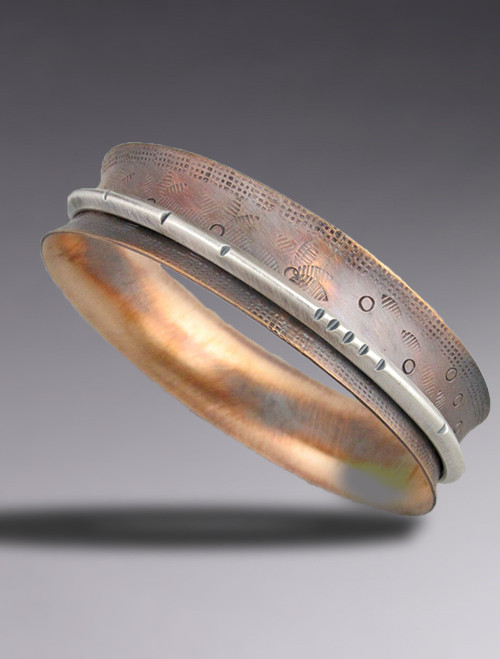Narrow Bronze and Sterling Silver Bangle Bracelet