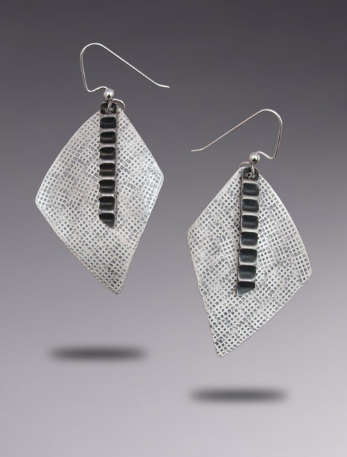 New Geometric Sterling Silver Drop Earring with Hand Stamped Texture