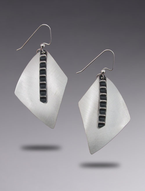 New Geometric Sterling Silver Drop Earring with Brushed Finish