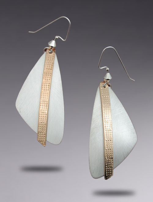 Large Triangle Sterling Silver Earrings with Brushed Finish and Bronze Dangle