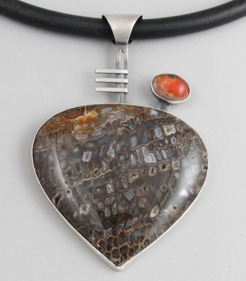 Petrified Wood and Mexican Opal Necklace