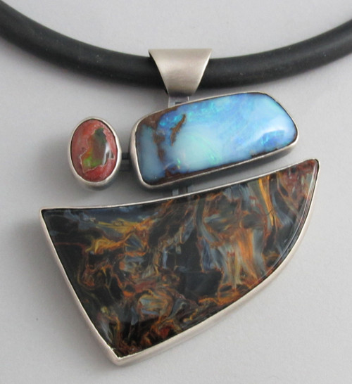 Pietersite, Boulder Opal and Mexican Opal Necklace