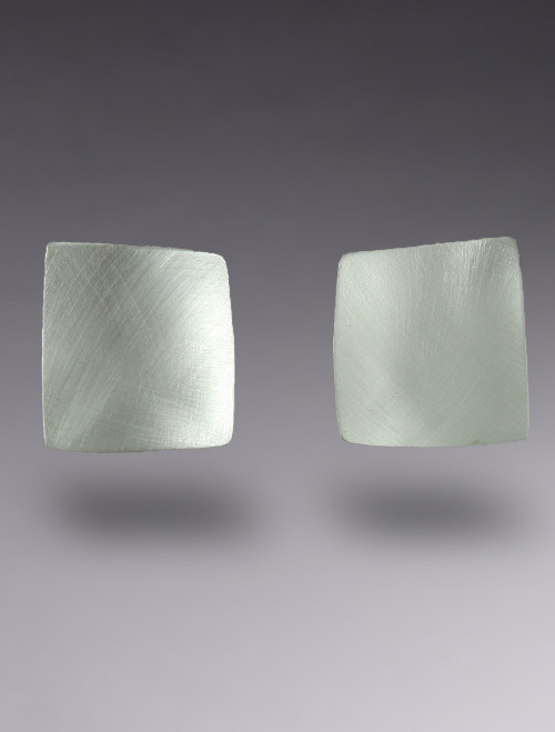 Concave Square Sterling Silver Earring with Brushed Finish