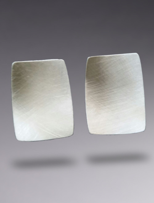 Concave Rectangle Sterling Silver Earring with Brushed Finish
