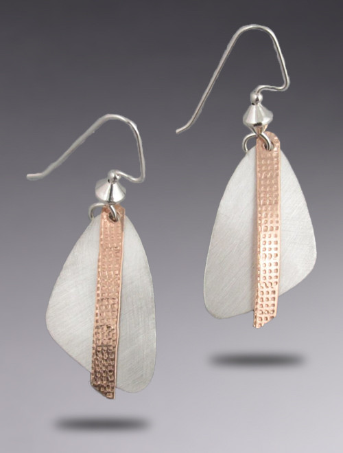 Small Brushed Sterling Silver Triangle Earring with a Bronze Dangle