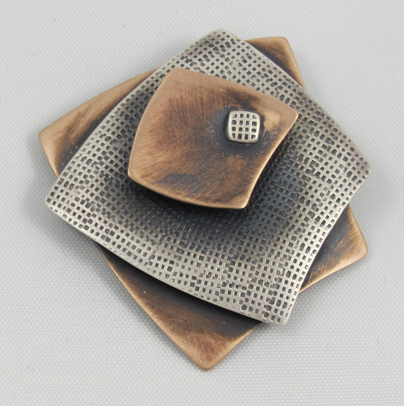 Small Squares 3 Layer Brooch