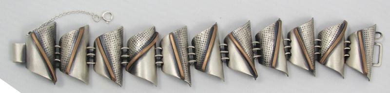 Sterling & Bronze Half Tube Link Bracelet