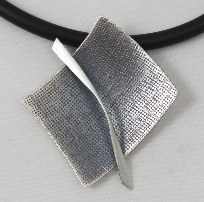 Sterling Silver Modernist Large Square Necklace