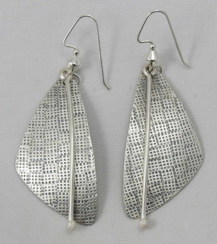 Hand Stamped Large Triangle Silver Dangle Earrings