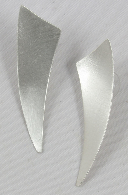 Option A: Brushed Modern Triangle earring, post