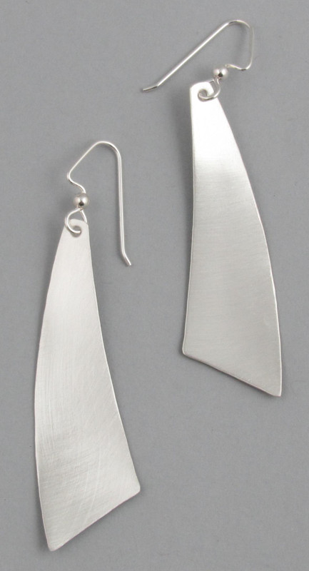 Brushed MOD Triangle Dangle  Earrings