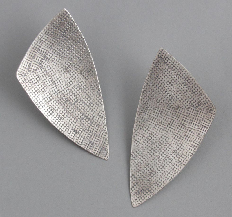 Stamped Sterling Silver Large MOD Triangle Post Earrings