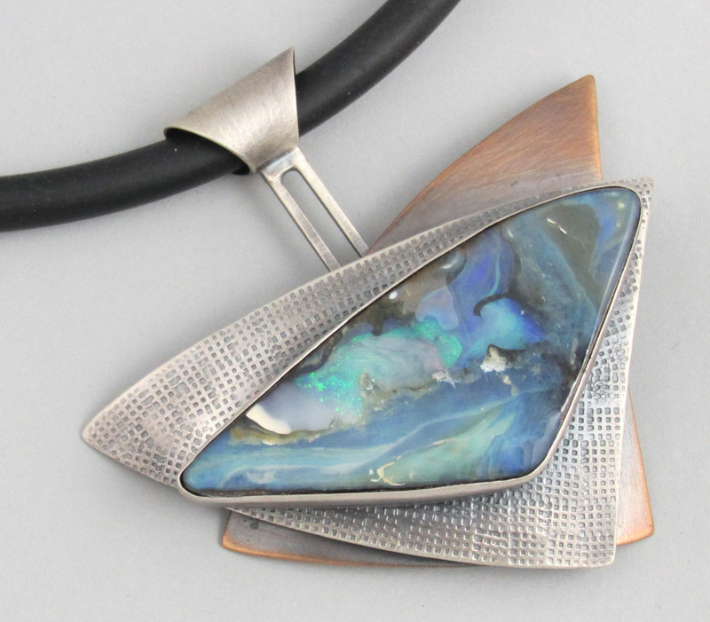 Layered Triangles Boulder Opal Necklace