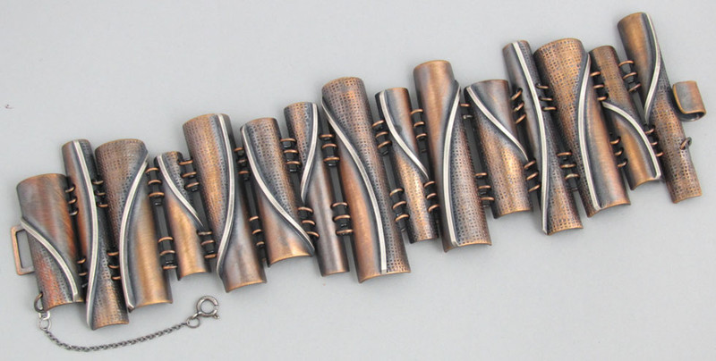 "Bronze and Sterling Silver ""Flames"" Taper Tube Link Bracelet"