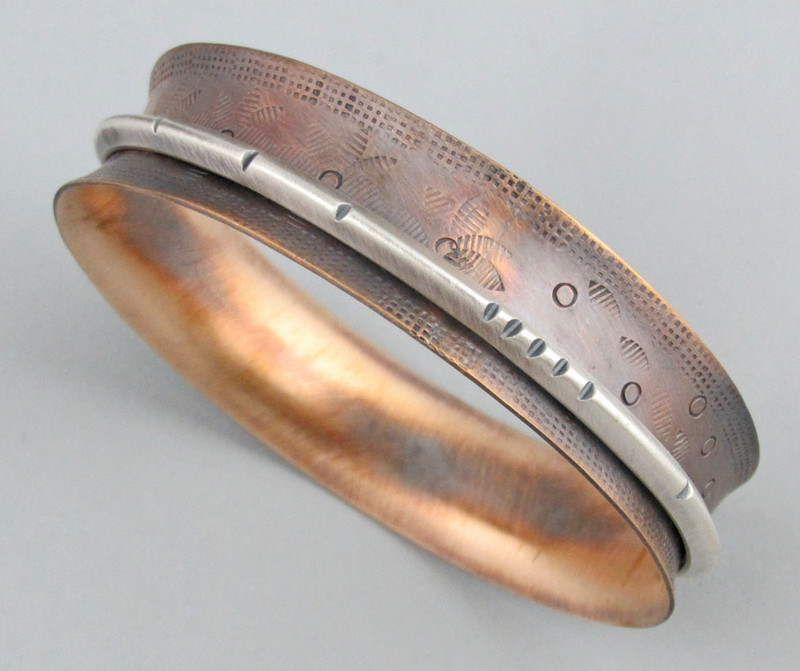 "5/8"" W Bronze and Sterling Silver Bangle with 1 Float"