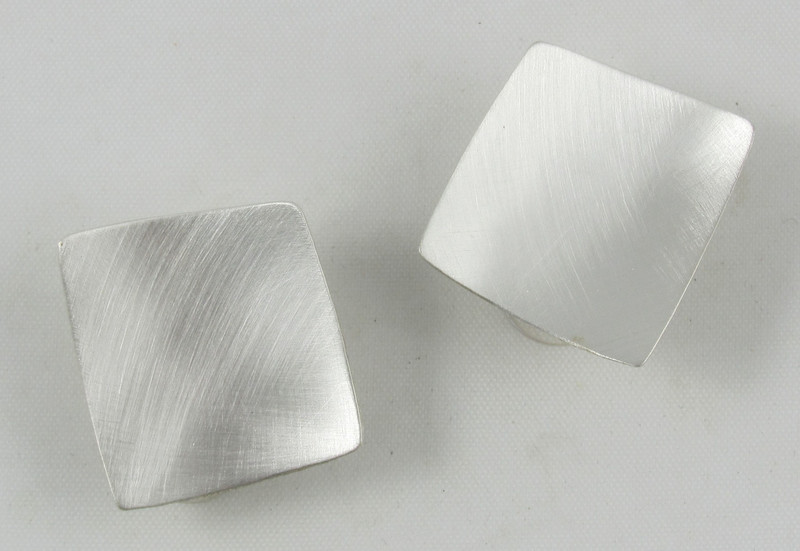 Brushed Sterling Silver Concave Square Earring