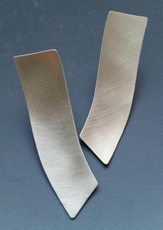 Brushed Sterling Silver Long Concave Earring