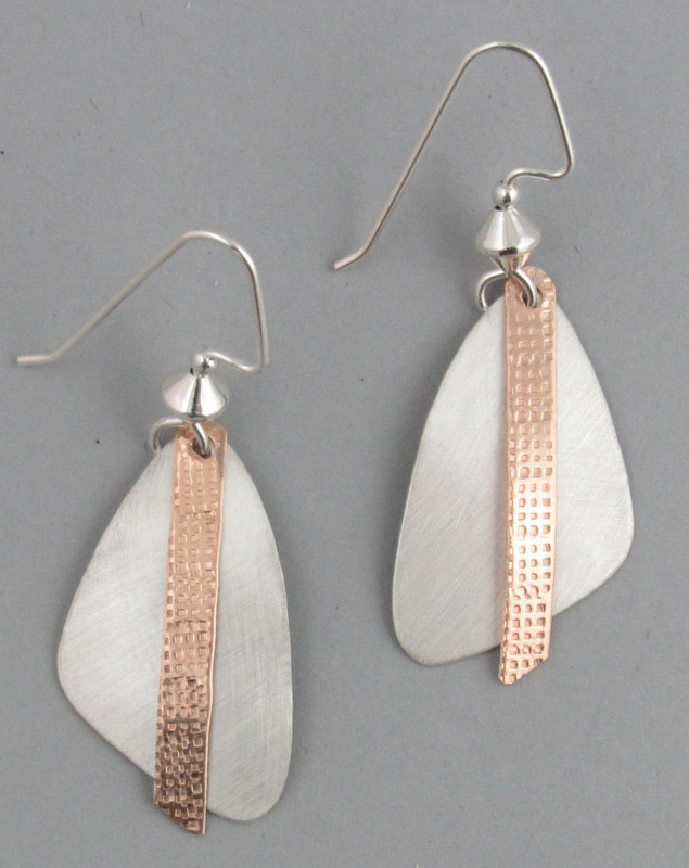 Small Brushed Sterling Silver Triangle Earring with Stamped Bronze Dangle