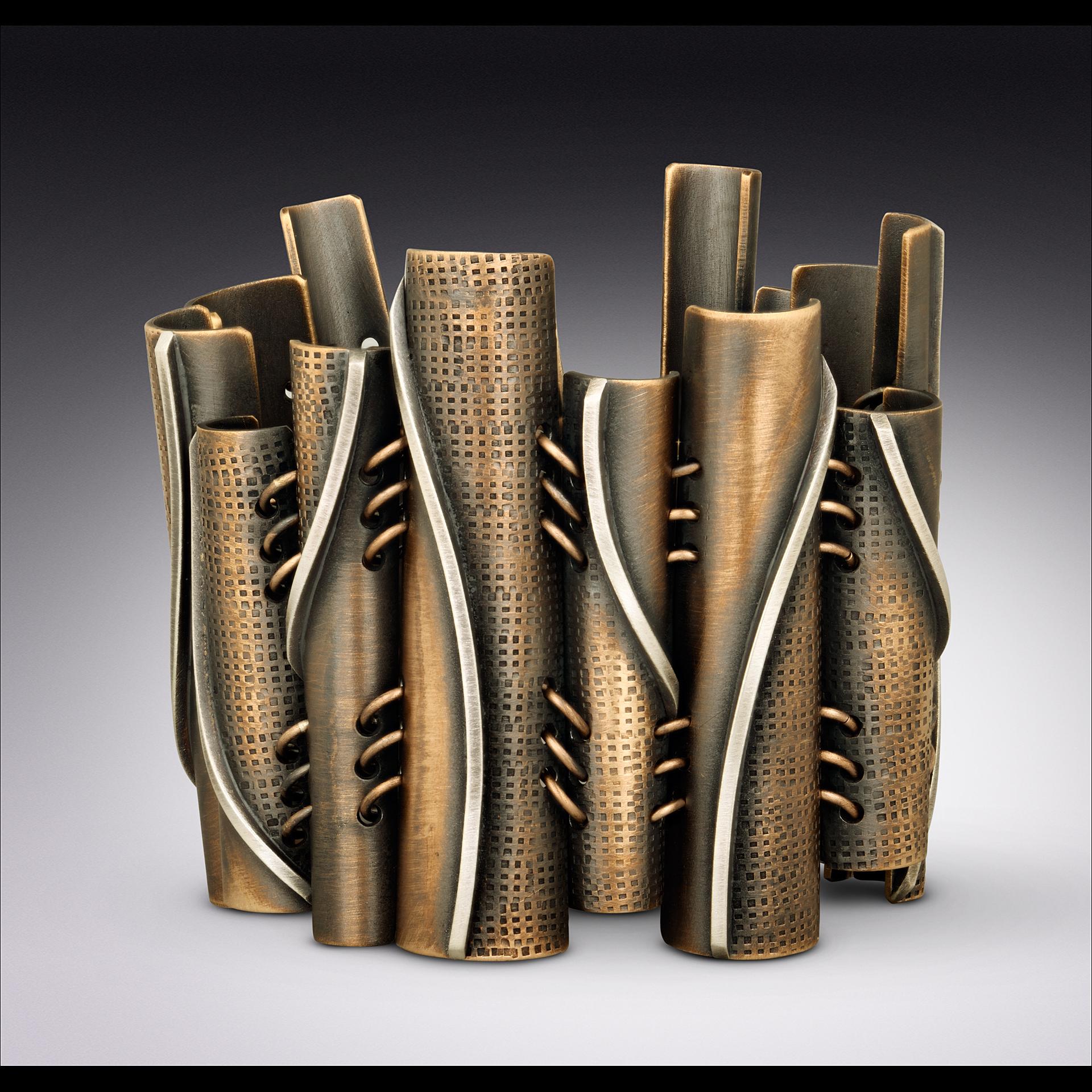 Bronze & Sterling Tapered Tube Bracelet