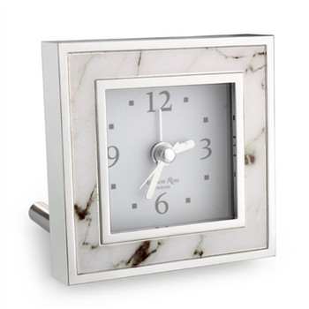 Addison Ross White Marble Alarm Clock
