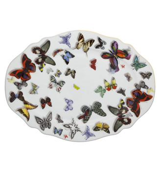 "Christian La Croix Butterfly Parade Sm Oval Platter 13"""