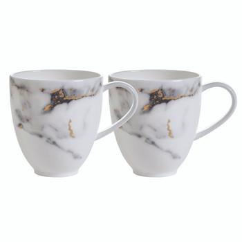 Prouna Marble Venice Fog Barrel Mug, Set of 2