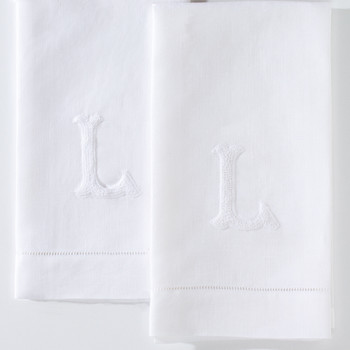 Hand-embroidered French Knot Monogram Guest Towels Set of 2