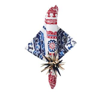 Kim Seybert Bandana Napkin White/Red/Blue