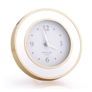 Addison Ross White & Gold Enamel Alarm Clock