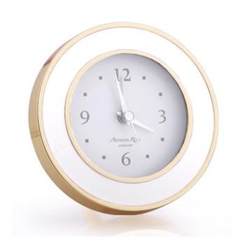 Addison Ross White & Gold Enamel Alarm Clock