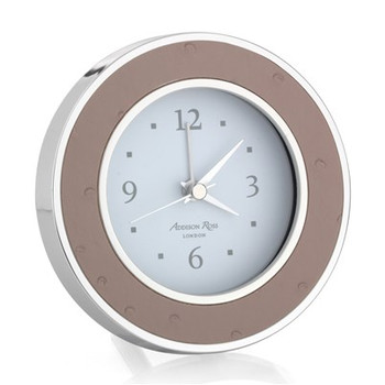 Addison Ross Faux Ostrich Blush Silver Alarm Clock