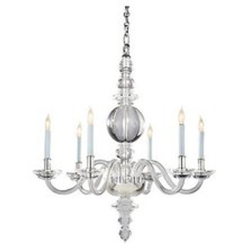 Visual Comfort E.F. Chapman George II Mini Chandelier - Crystal/Polished Nickel