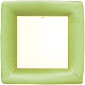 Caspari Grosgrain Border Green Dinner Plate