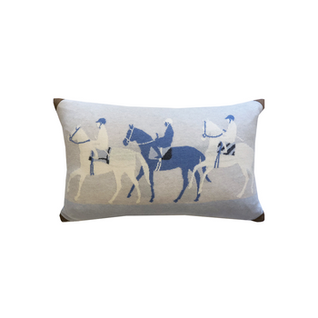 Rani Arabella Knitted Jockey Pillow with Suede Corners