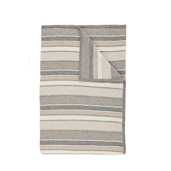 Rani Arabella Cashmere Stripes Throw - Ivory/Beige