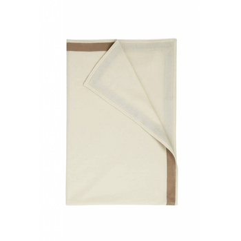 Rani Arabella Cashmere Throw with Suede Border - Ivory