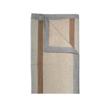 Rani Arabella London Cashmere Throw with Suede Detail - Sand/Gray