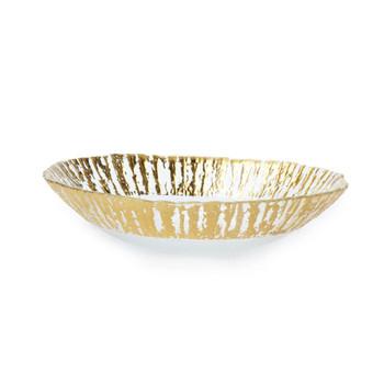 Vietri Rufolo Glass Gold Medium Oval Serving Bowl