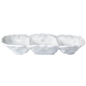 Vietri Incanto Stone White Lace Medium Three Part Server