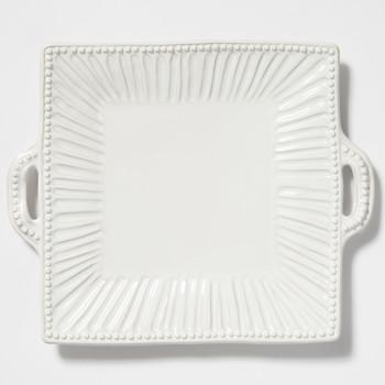 Vietri Incanto Stone White Stripe Square Handled Platter