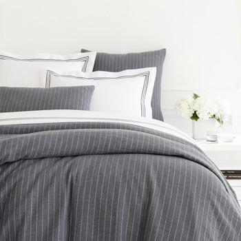 Pine Cone Hill Chalk Stripe Grey Matelasse Duvet Cover