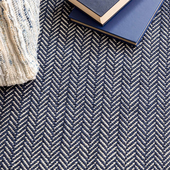 Dash & Albert Herringbone Indigo Woven Cotton Rug - 2x3