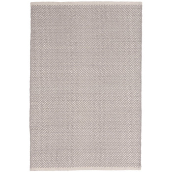 Dash & Albert Herringbone Dove Grey Woven Cotton Rug - 2x3