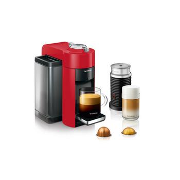 Nespresso Evoluo Coffee and Espresso Maker by De'Longhi with Aerocinno - Red